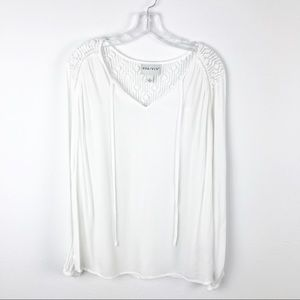 Ava & Viv White Lace Long Sleeve Shirt Top Size X